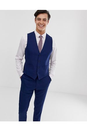 French Connection Wedding slim fit plain linen waistcoat