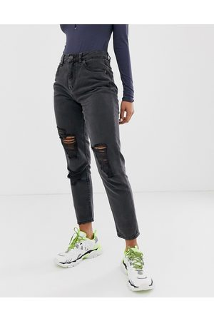 Noisy May Distressed mom jean in black