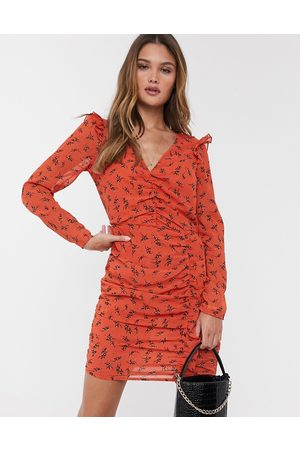 River Island Mini dress with ruched sleeves in floral print