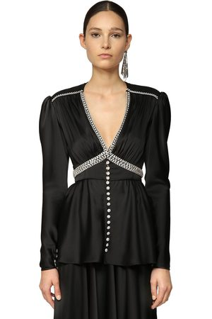 Paco rabanne Women Tops - V Neck Satin Top W/ Crystals