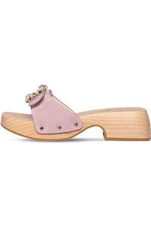 Roger Vivier Women Casual Shoes - 40mm Viv Embellished Suede Slide Clogs