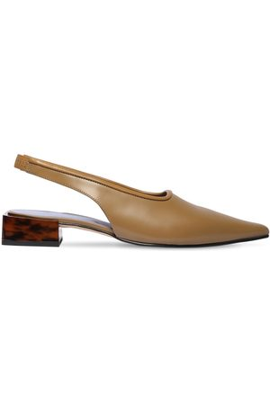 Ganni 30mm Brushed Leather Sling Back Flats