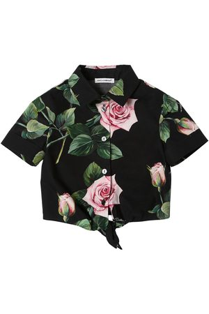 Dolce & Gabbana Rose Print Cotton Poplin Shirt W/ Bow