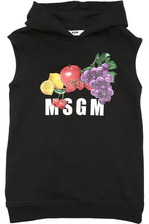 Msgm Logo Print Cotton Hooded Sweat Dress