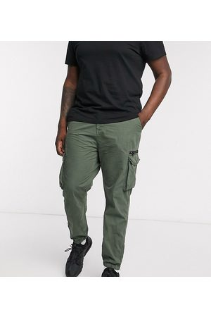 River Island Big & Tall cargo trousers in khaki