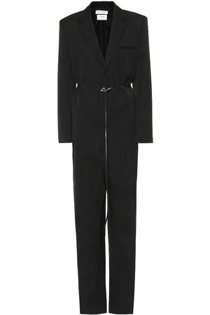 Bottega Veneta Leather-trimmed wool jumpsuit