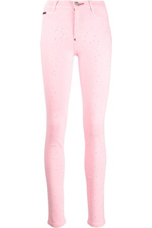 Philipp Plein High-rise crystal-embellished jeggings