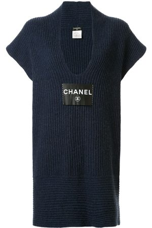 Chanel Pre-Owned Women Knitted Dresses - Logo patch knitted dress
