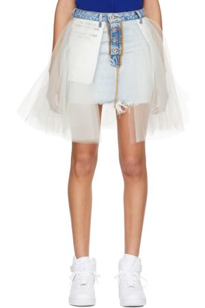 UNRAVEL Stone Denim Tulle Reversed Miniskirt