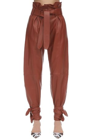 The Attico Women Leather Pants - Leather High Waist Pants W/knot