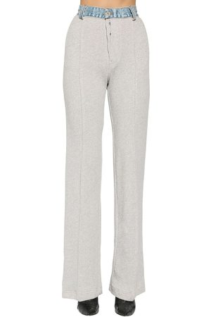 UNRAVEL Terrycloth & Denim Straight Leg Pants