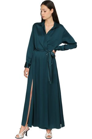 Sies marjan Women Casual Dresses - Satin Crepe Envers Wrap Shirt Dress