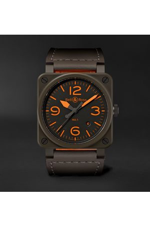 Bell & Ross Men Watches - Br 03-92 Ma-1 Limited Edition Automatic 42mm Ceramic And Leather Watch