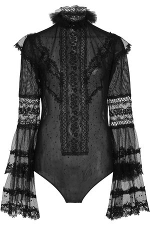 Costarellos Marida Lace-Trimmed Dotted Tulle Bodysuit