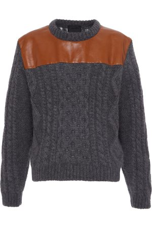 Prada Leather Panel Wool Sweater