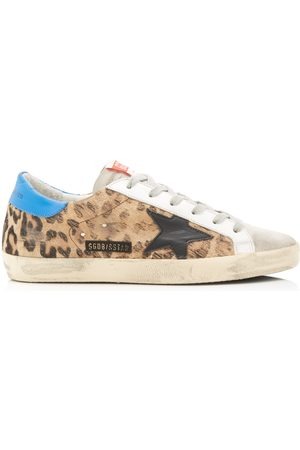 Golden Goose Superstar Distressed Printed Calf Hair And Leather Sneake