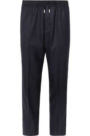 Mr P. Slim-Fit Midnight- Worsted-Wool Drawstring Trousers