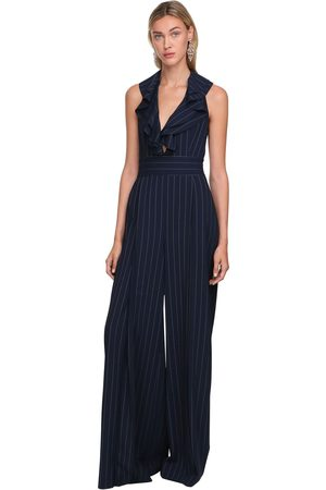 Ralph Lauren Wool Twill Pinstripes Wide Leg Jumpsuit