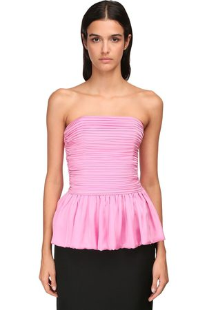 ALEXANDRE VAUTHIER Ruched Strapless Chiffon Satin Top