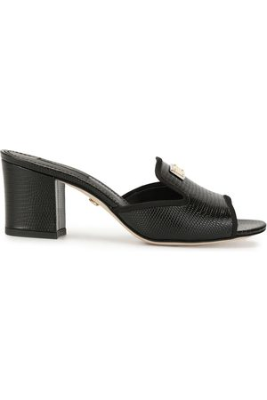 Dolce & Gabbana Women Sandals - Lizard-effect block-heel sandals