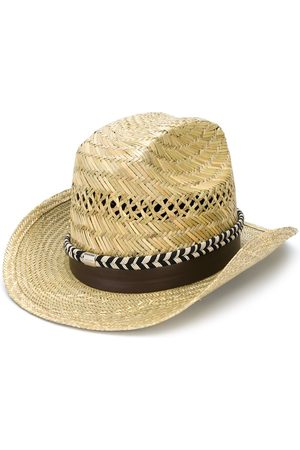 Saint Laurent Braided ribbon fedora hat