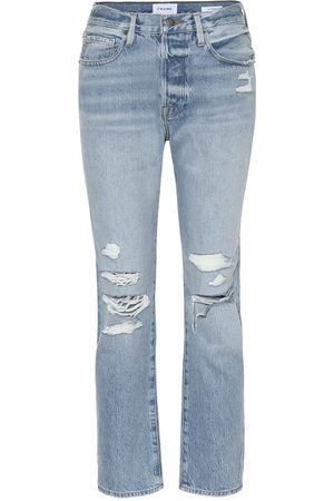 Frame High-rise distressed slim jeans