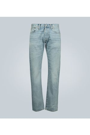 RRL Slim-fit light wash selvedge jeans