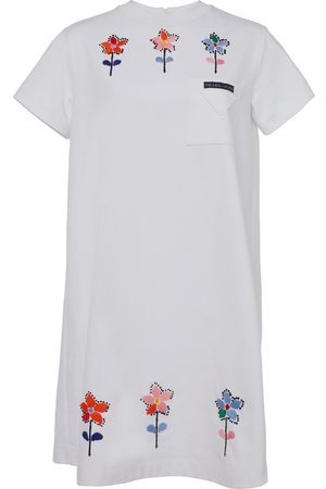 Prada Embroidered Cotton Mini T-Shirt Dress