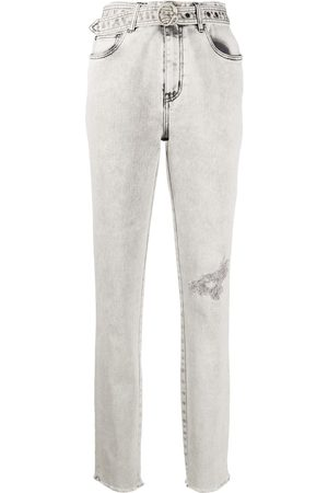 Roberto Cavalli Women Tapered - Distressed belted jeans