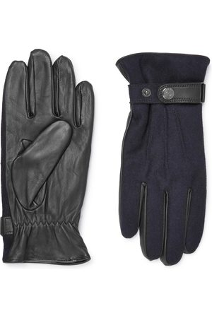 Dents Men Gloves - Guildford Mélange Flannel And Leather Gloves