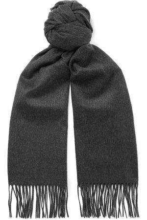 Johnstons Of Elgin Men Scarves - Fringed Checked Cashmere Scarf