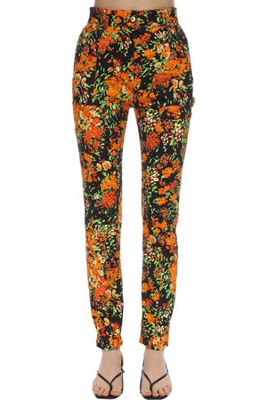 Atlein Women Slim Pants - Floral Print Stretch Twill Skinny Pants