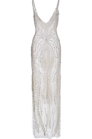 Rodarte Bead-Embellished Embroidered Chiffon Gown