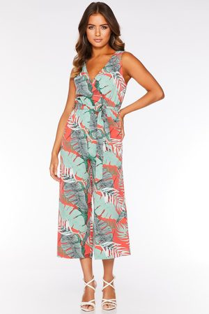 Quiz Green And Coral Tropical Wrap Culotte Jumpsuit