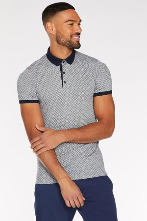Quiz Printed Polo with Contrast Collar and Piping in