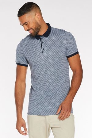 Quiz Printed Polo with Contrast Collar and Piping in Light