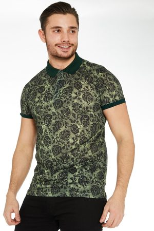 Quiz Floral Polo Shirt with Contrast Collar & Sleeves in