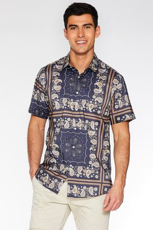 Quiz Short Sleeve Block Paisley Print Shirt