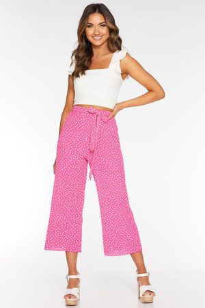 Quiz Pink and Polka Dot Culotte Trousers