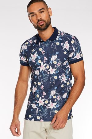 Quiz All Over Flower Printed Polo in Navy