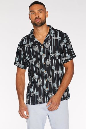 Quiz Short Sleeve Striped Tropical Shirt