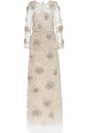 Women Party Dresses - Marchesa Crystal-Embroidered Tulle Gown