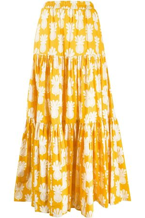 La DoubleJ Pineapple print tiered skirt
