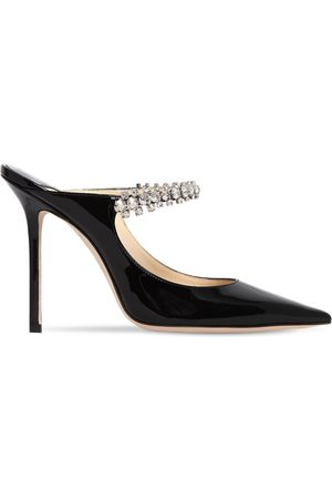 Jimmy Choo 100mm Bing Crystals Patent Leather Mules