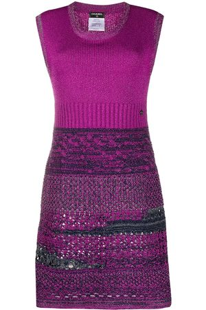 CHANEL Jacquard knit fitted dress
