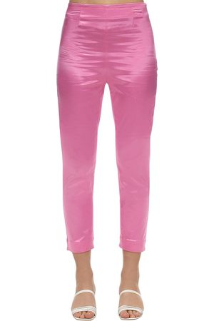 Staud Cropped Satin Slim Pants