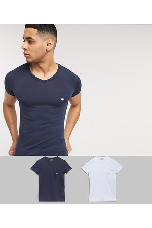 Emporio Armani Men Loungewear - Loungewear 2 pack v neck logo lounge t-shirts in white and navy