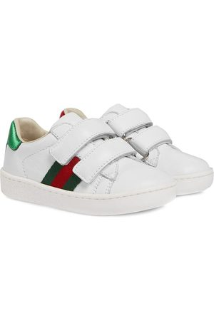 Gucci Toddler leather sneaker with Web