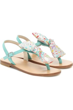 BONPOINT Girls Sandals - Tammie bow-trimmed leather sandals