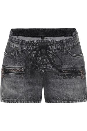 UNRAVEL Denim lace-up shorts
